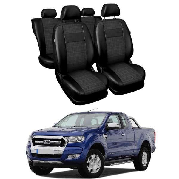 Huse Scaune Ford Ranger 5 locuri cabina dubla 2009-2016 din piele si material textil