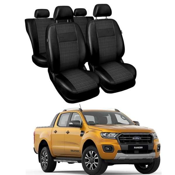 Huse Scaune Ford Ranger 5 locuri cabina dubla 2017-2019 din piele si material textil