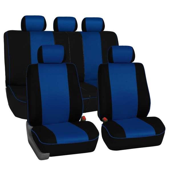 Set Huse Auto Fractionata  Albastru Fata+Spate Premium