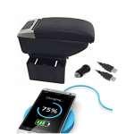 Cotiera Auto Negru Lux Cu Usb pentru incarcare Telefon si Suport Pahar dotat cu Led