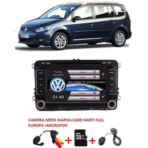 Navigatie dedicata Vw Touran 2004-2015 + Camera mers inapoi + Card Harti full Europa 8 GB ,CanBus ,Wi-Fi