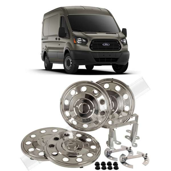 Capace Roti Inox Cromate R16 Ford Transit 2014-2017 Fata+Spate ( Set 4 buc) Punte Spate Simpla
