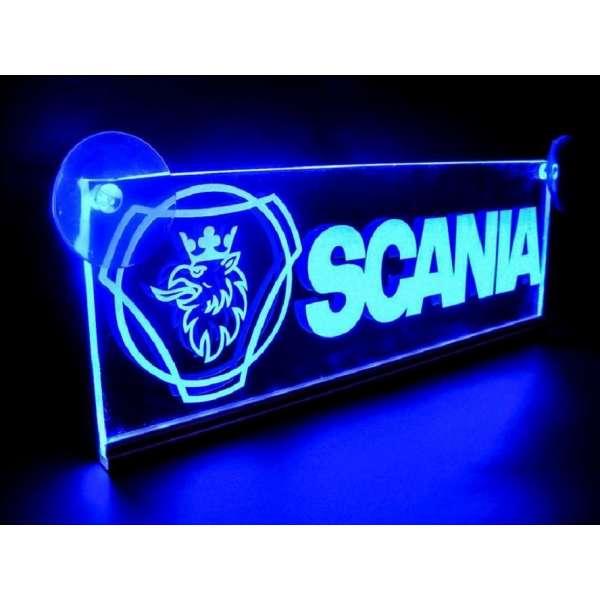 Emblema Scania Led pentru cabina prindere interioara pe parbriz led 5 w 12/24v Albastru